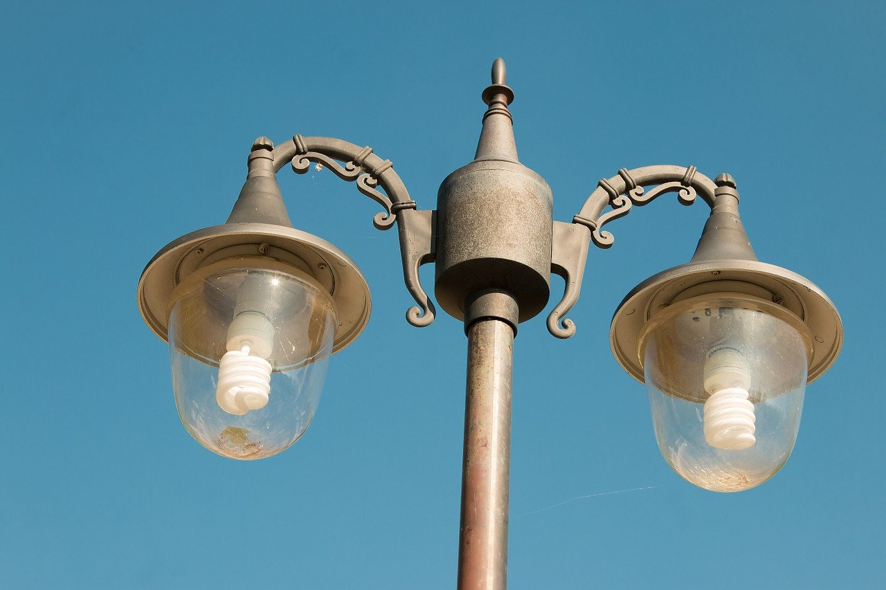 lamp post, light fixture, electric