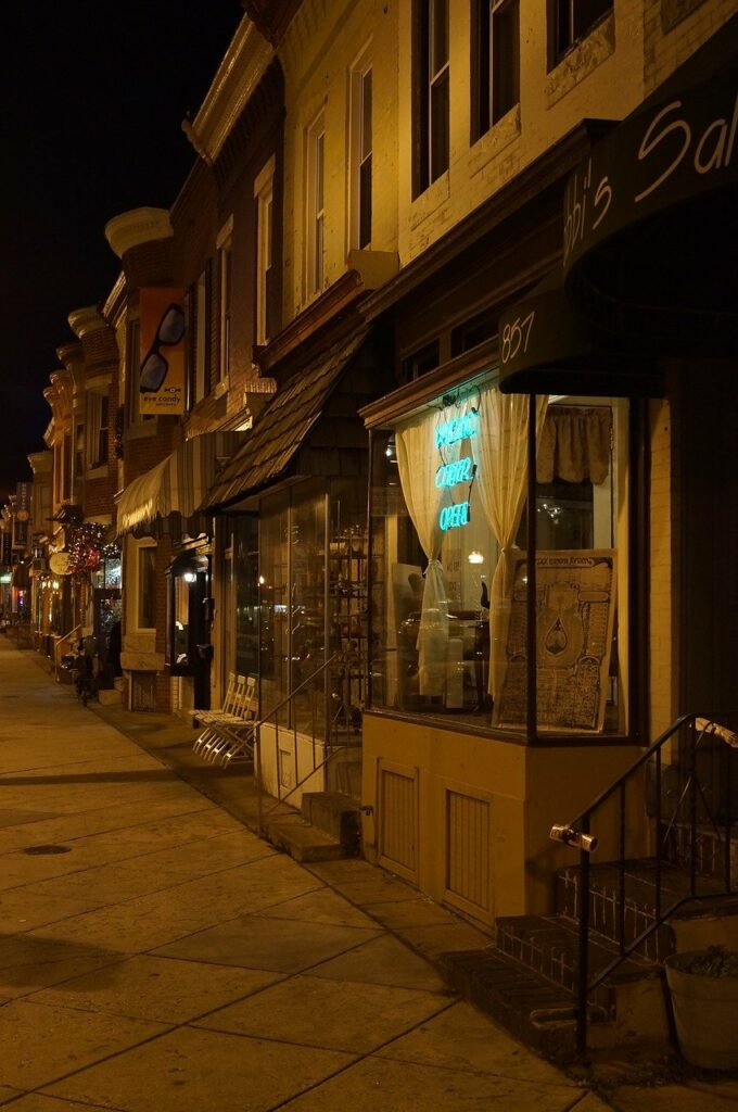 storefront, shops, night time